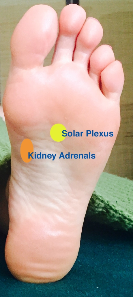 Solar plexus reflexology point for stress