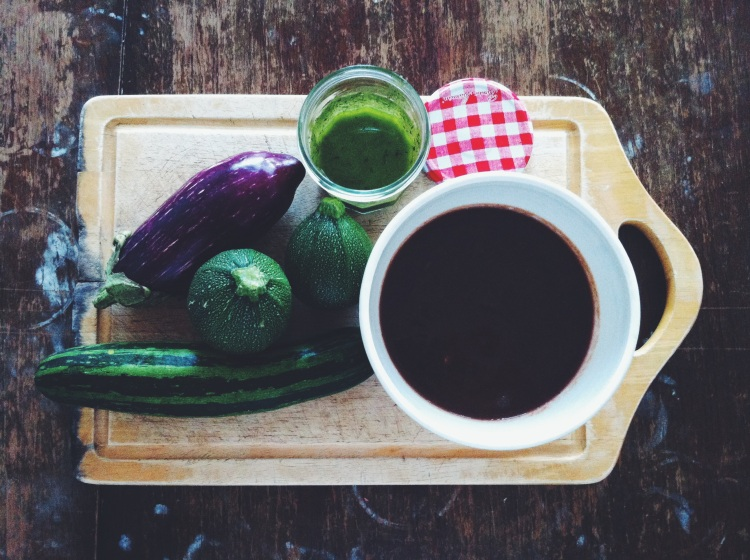 Aubergine and courgette soup with homemade pesto